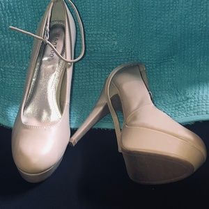 Bamboo Nude Ankle Strap Stiletto Size 10